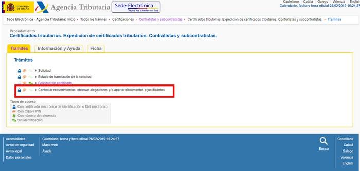 Alegaciones certificado de contratista