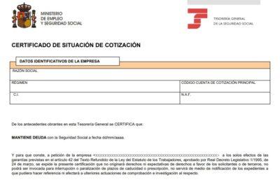 Certificado de Situación de Cotización