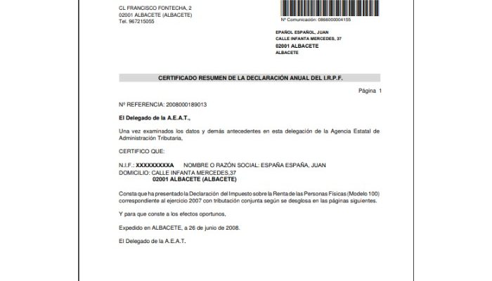 Certificado de imputaciones documento