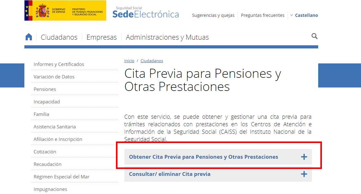 Cita previa para certificado pensiones