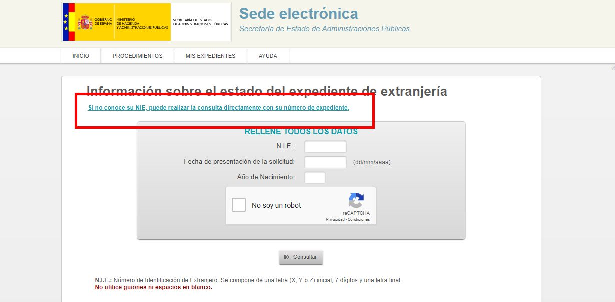 Consulta expediente extranjería por expediente