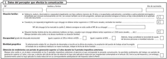 Modelo 145 datos del perceptor