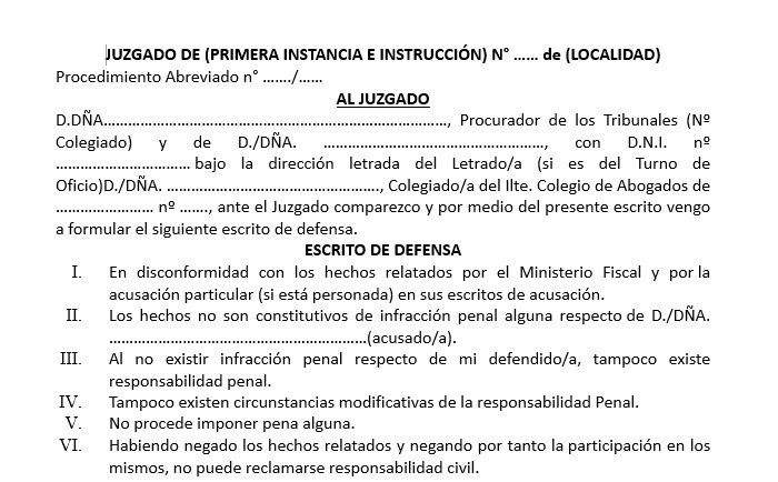 Modelo escrito de defensa
