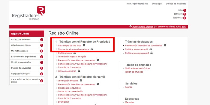Registradores online nota simple