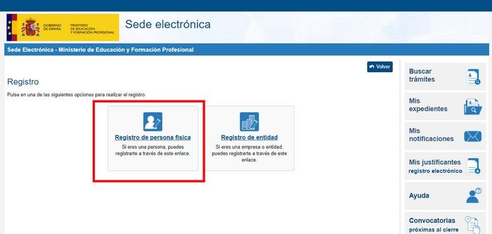 Registro en la Sede electrónica