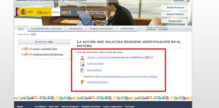acceso usando los certificados digitales