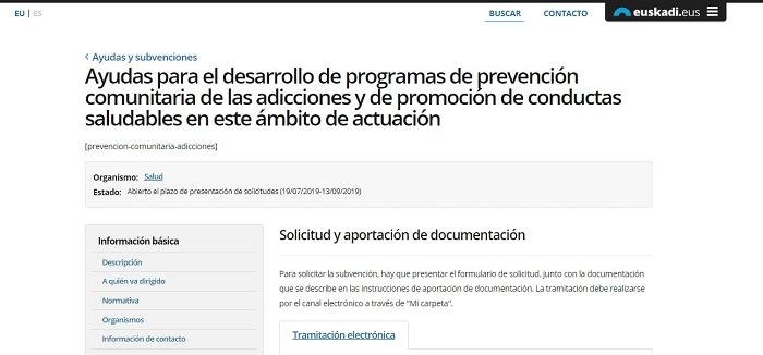 ayudas desarrollo de programas prevención