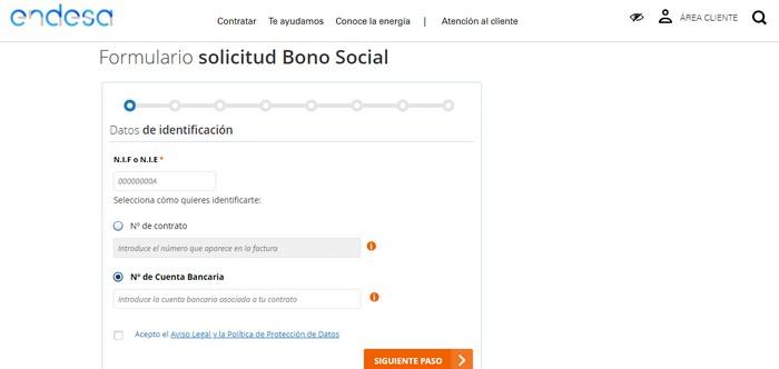 bono social Endesa formulario