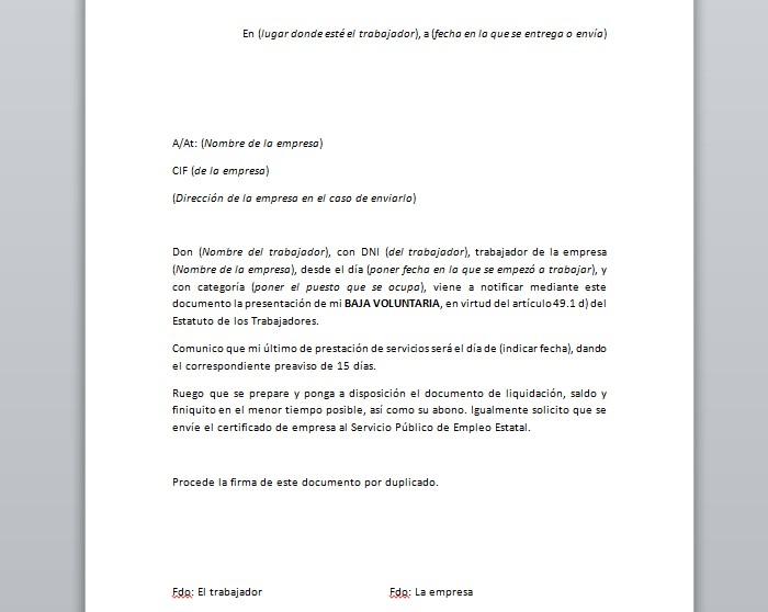 Carta Baja Voluntaria Trabajador Con Preaviso About Quotes H