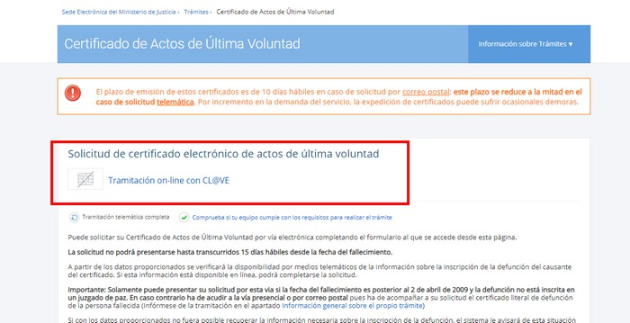 certificado última voluntad