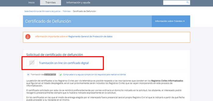 certificado de defunción online