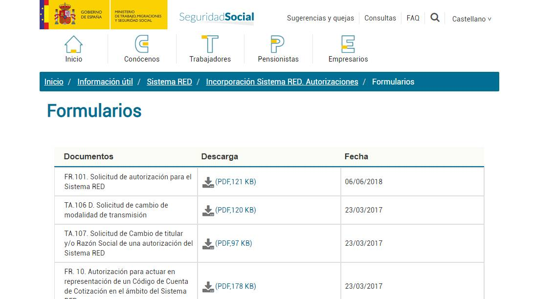 certificado de registro Sistema RED