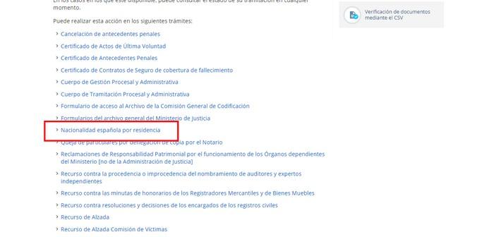 consulta de nacionalidad española