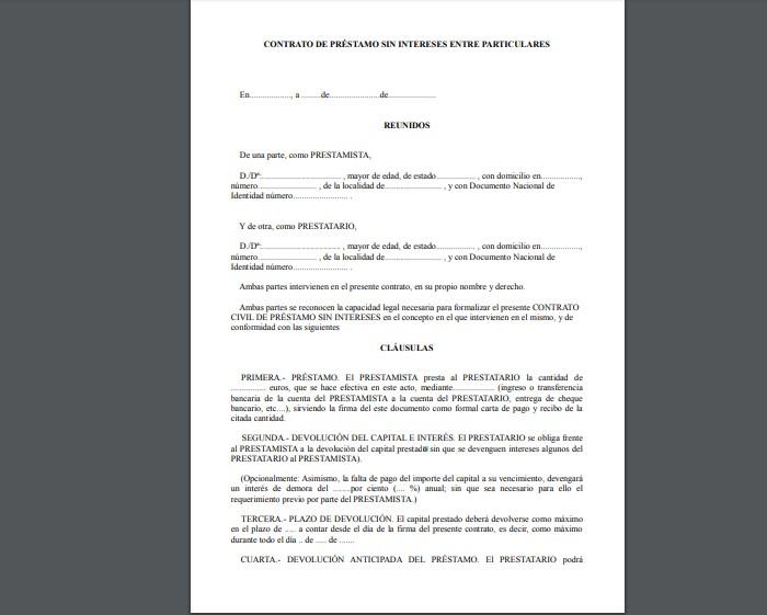 contrato de préstamo entre particulares sin intereses