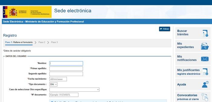 formulario de registro homologación