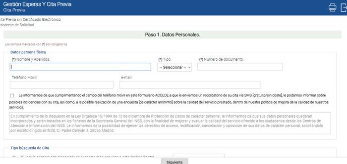 formulario de solicitud de cita