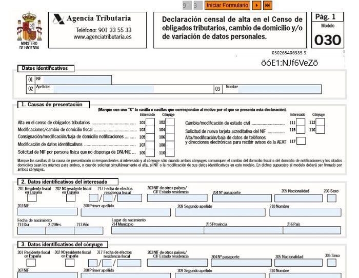 modelo 030 solicitud NIF Certificado Ceres