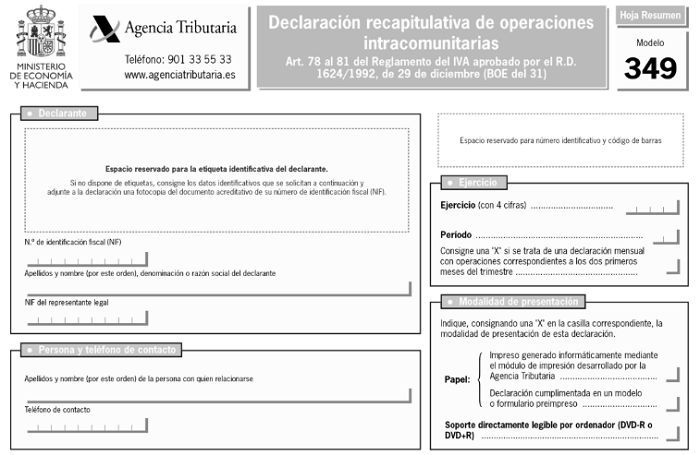modelo 349 formulario