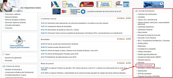 página Agencia Tributaria