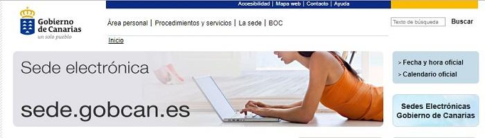 página del gobierno de Canarias