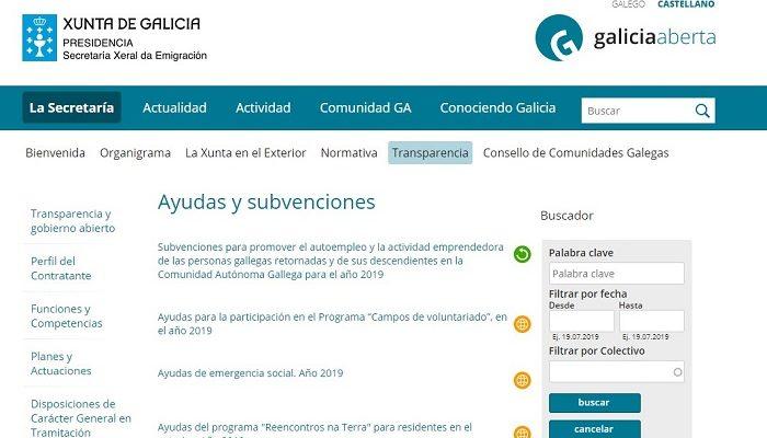 página web Xunta de Galicia