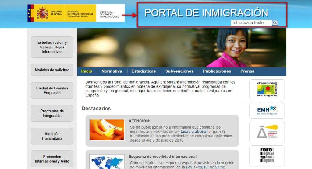 página web inmigración