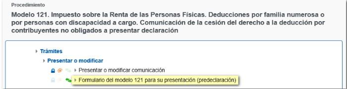 predeclaración modelo 121