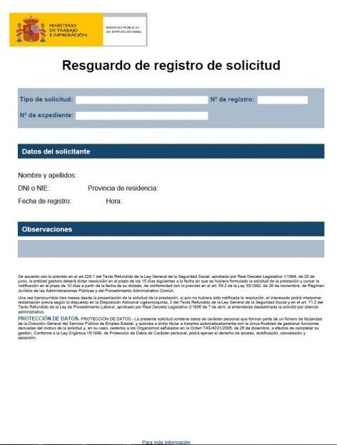 resguardo de la solicitud