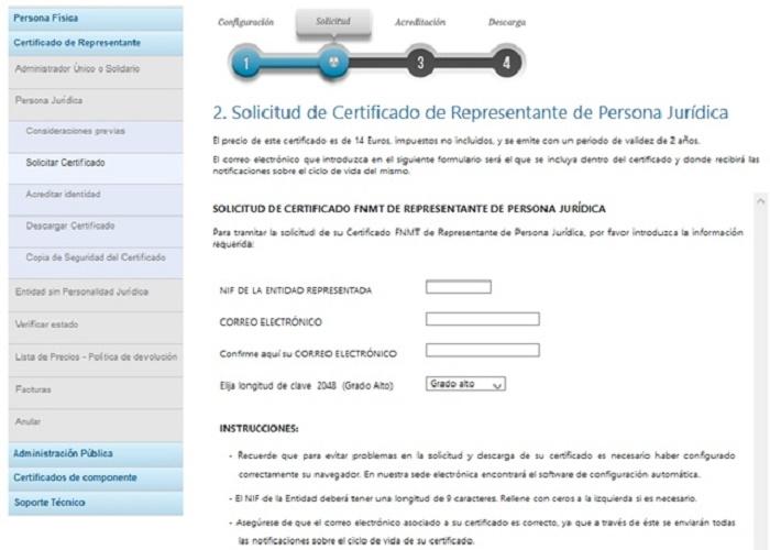 solicitud certificado